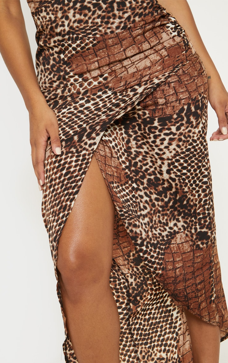 Shape Brown Croc Print Satin Wrap Detail Midaxi Dress 5