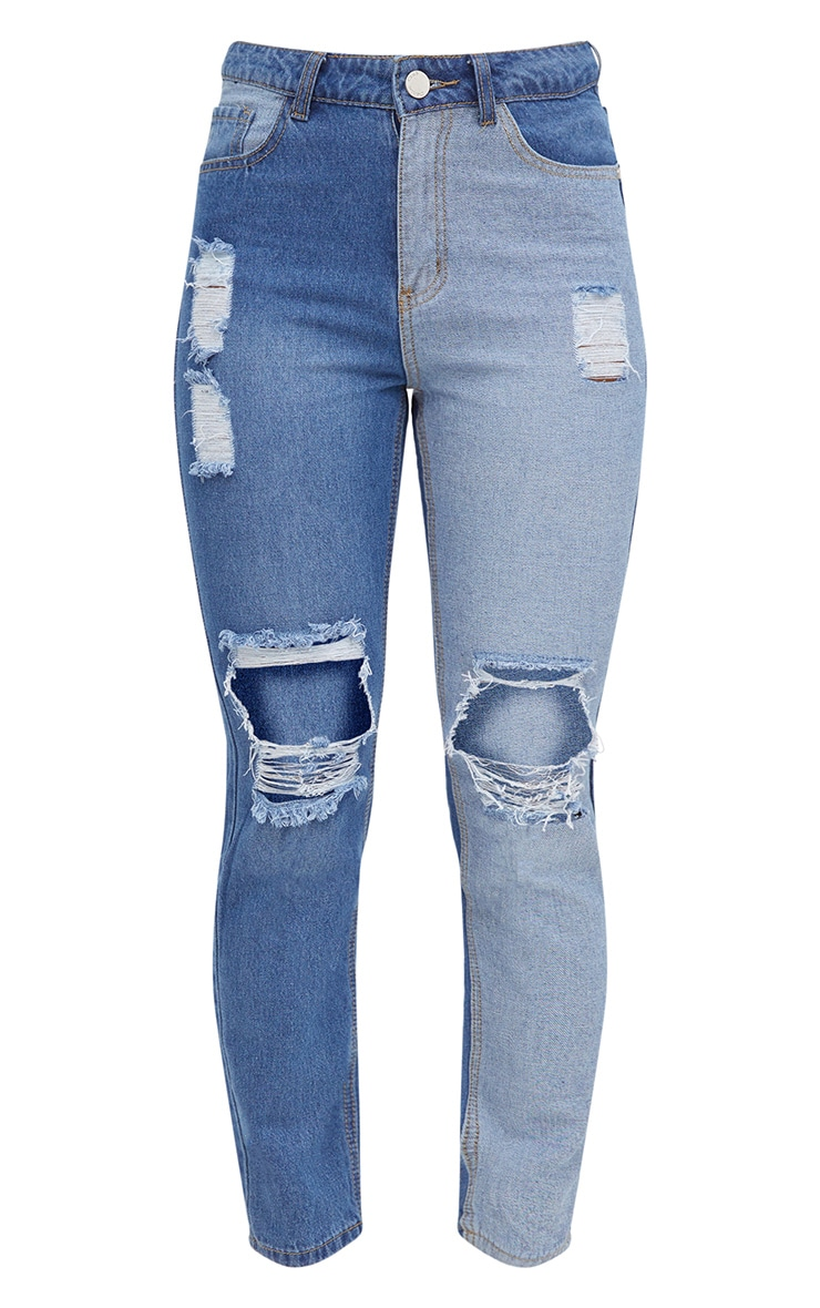 Mid Wash Contrast Panel Extreme Ripped Mom Jeans 3