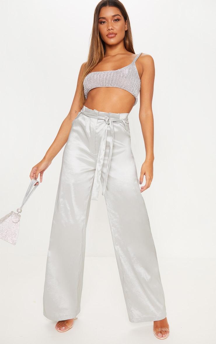 Silver Metallic Tie Waist Wide Leg Trouser 1