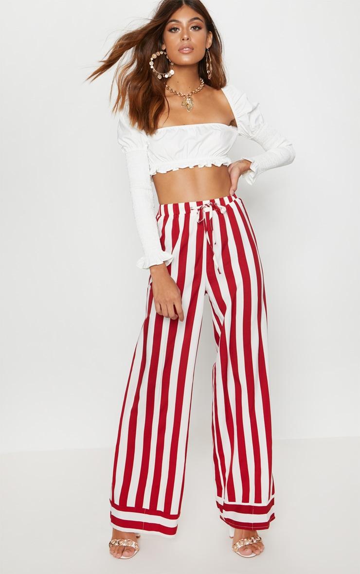 Red Drawstring Waist Stripe Wide Leg Trouser