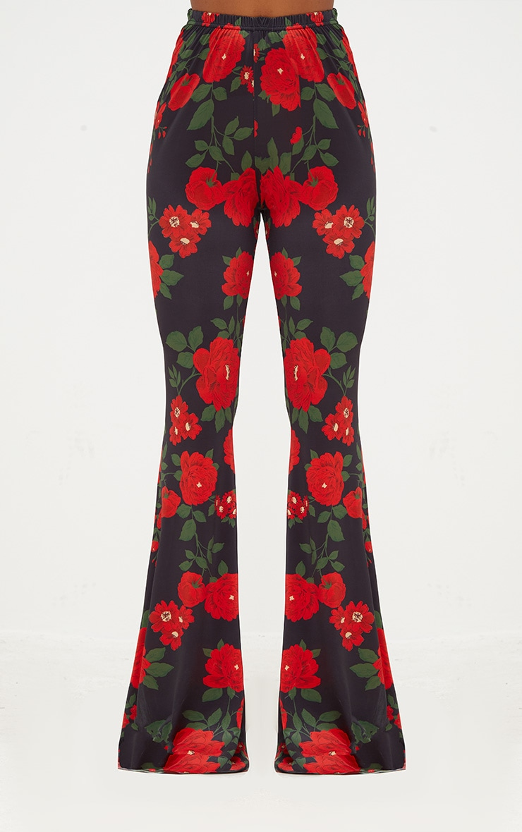 Black Floral Print Slinky Flared Trousers 2