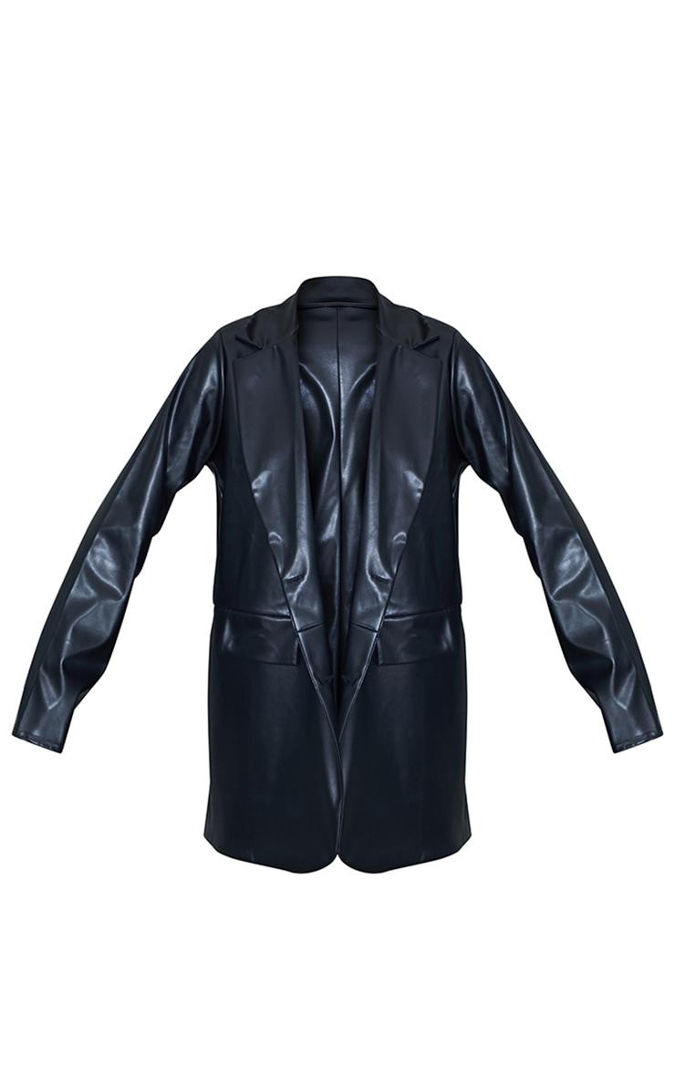 Black PU Pocket Look Double Button Blazer 5