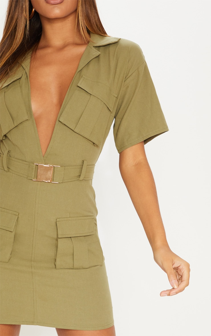 Khaki Cargo Utility Gold Buckle Pocket Detail Bodycon Dress 5