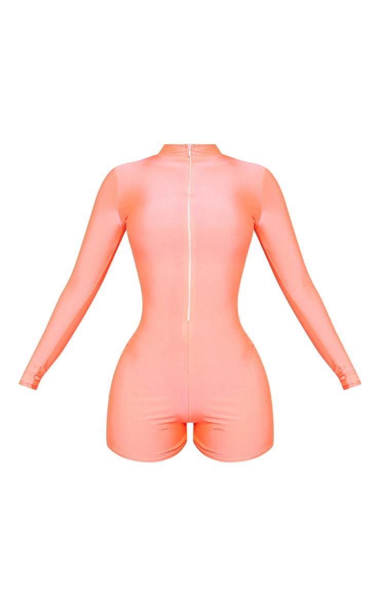 Shape Neon Pink Disco Long Sleeve Unitard 3