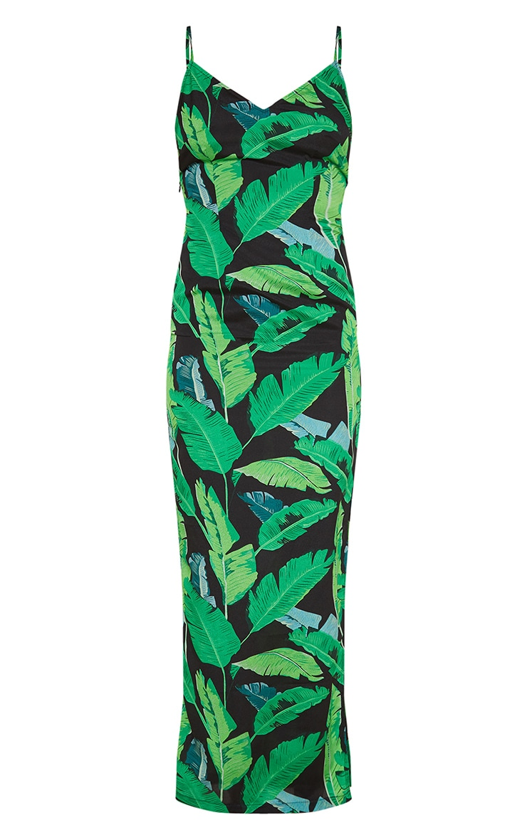 Green Leaf Print Strappy Split Maxi Dress 3