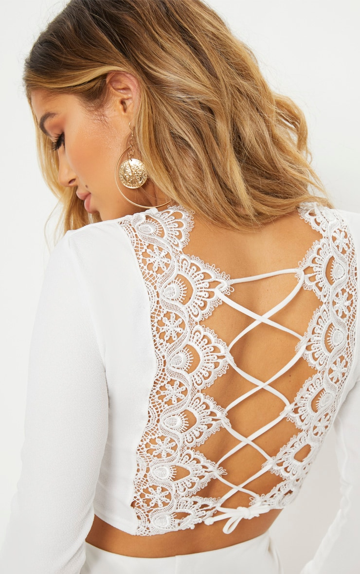White Lace Up Back Long Sleeve Crop Top  5