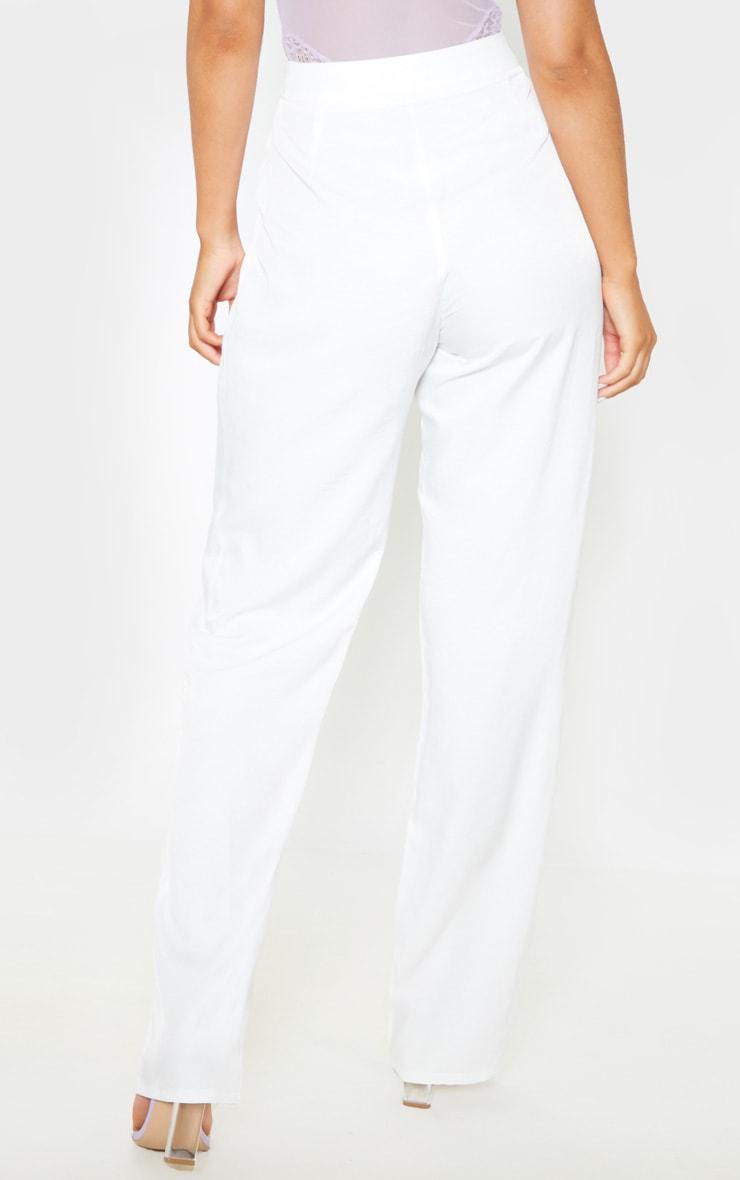 White Woven Pleat Detail Straight Leg Pant 5