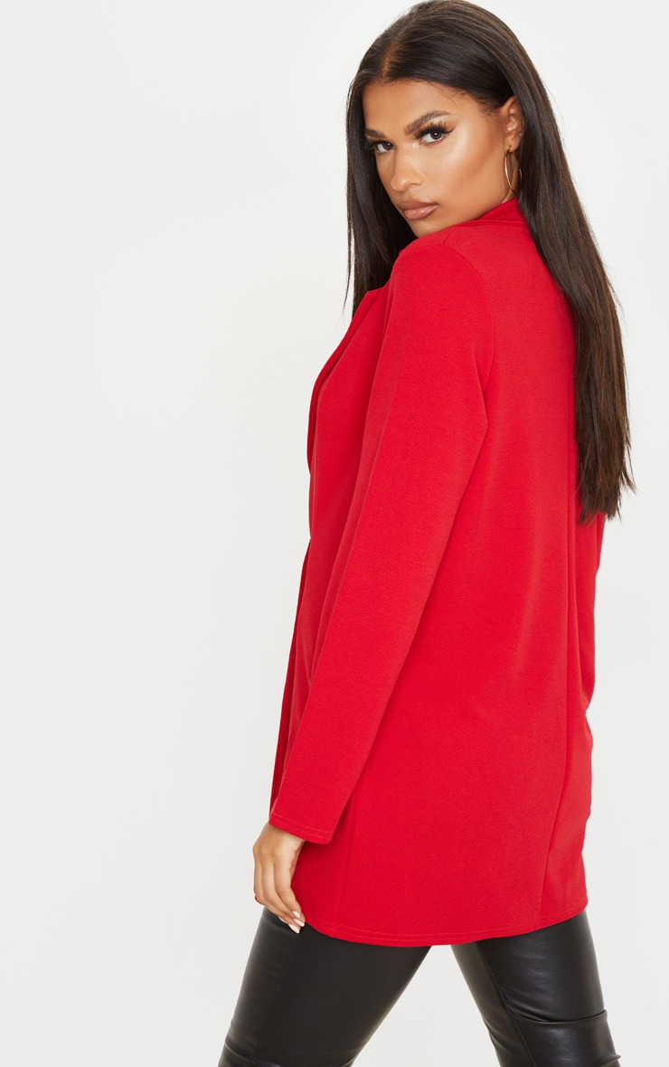 Red Oversized Boyfriend Blazer 2