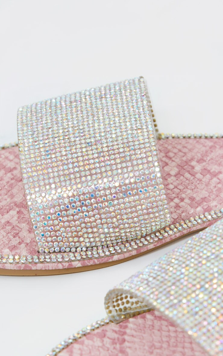 Pink Snake Hot Fix Diamante Clear Slides 3