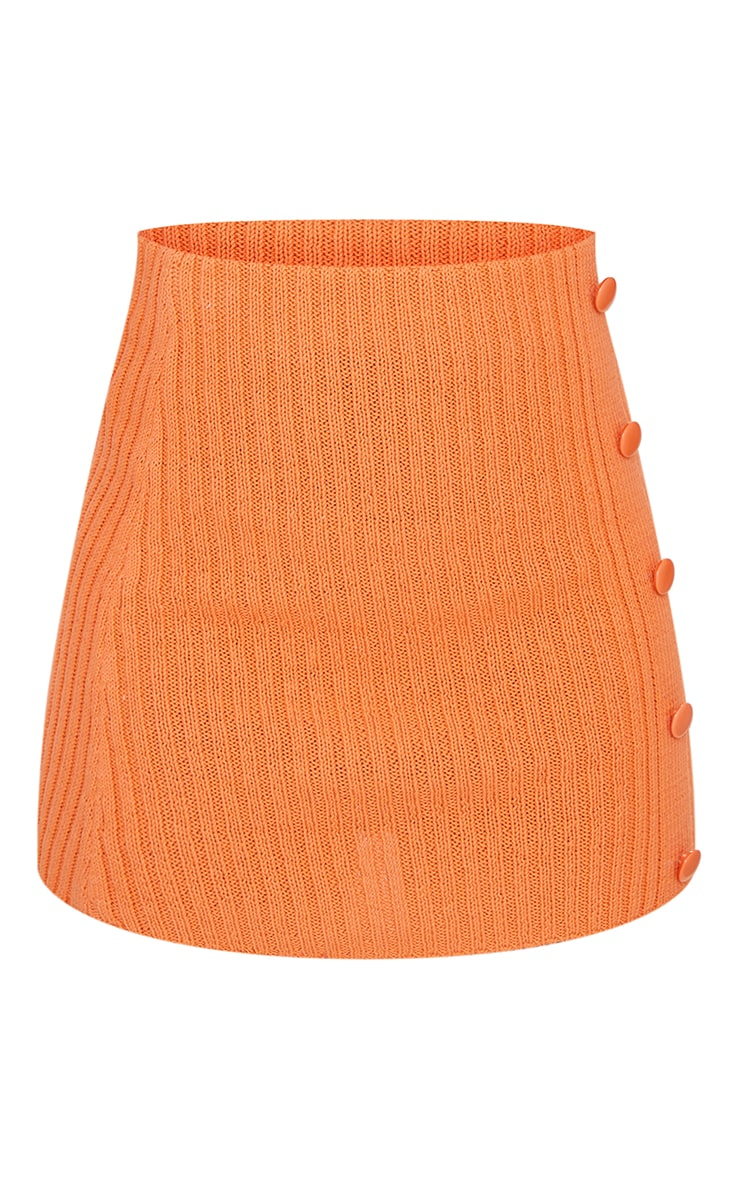 Orange Ribbed Knitted Button Mini Skirt 6