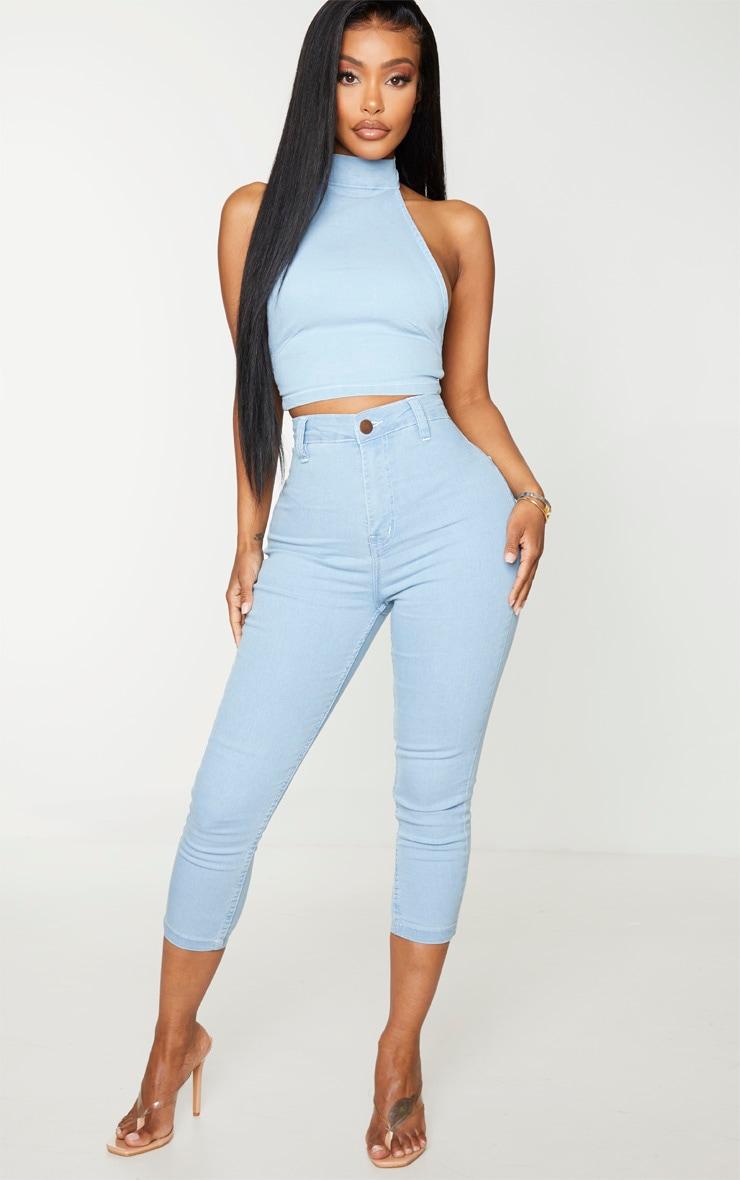 Shape Light Blue Wash High Waist Cropped Jeans 1