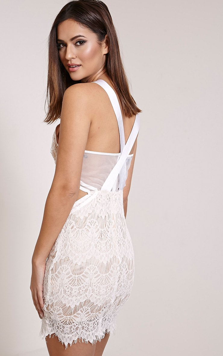 Fai White Cross Back Lace Bodycon Dress 3