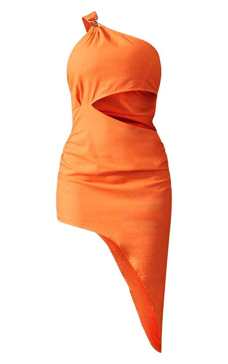 Orange One Shoulder Ring Detail Asymmetric Hem Bodycon Dress 7