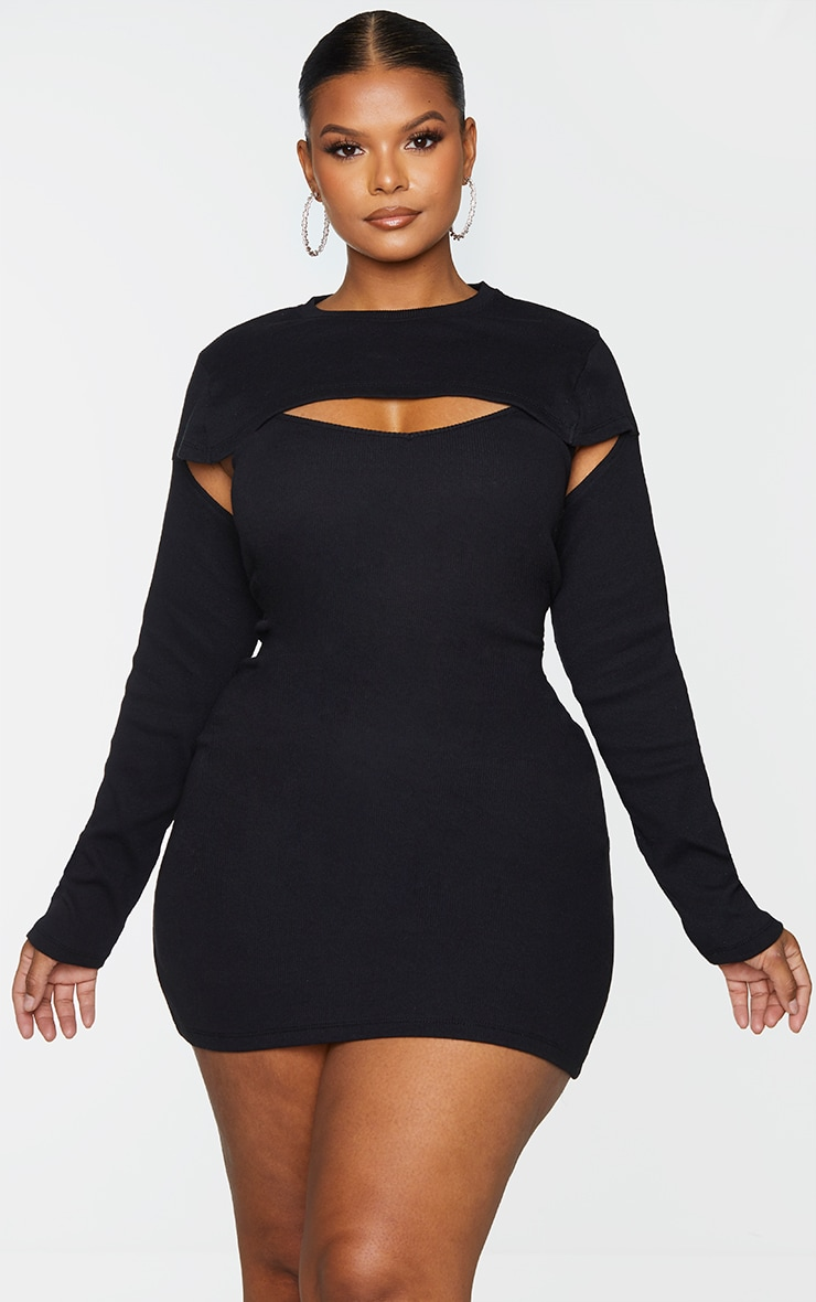 Plus Black Two Piece Thick Rib Dress 3