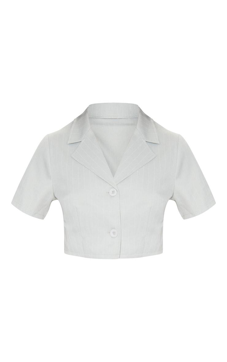 Sage Green Pinstripe Cropped Short Sleeve Blazer 5