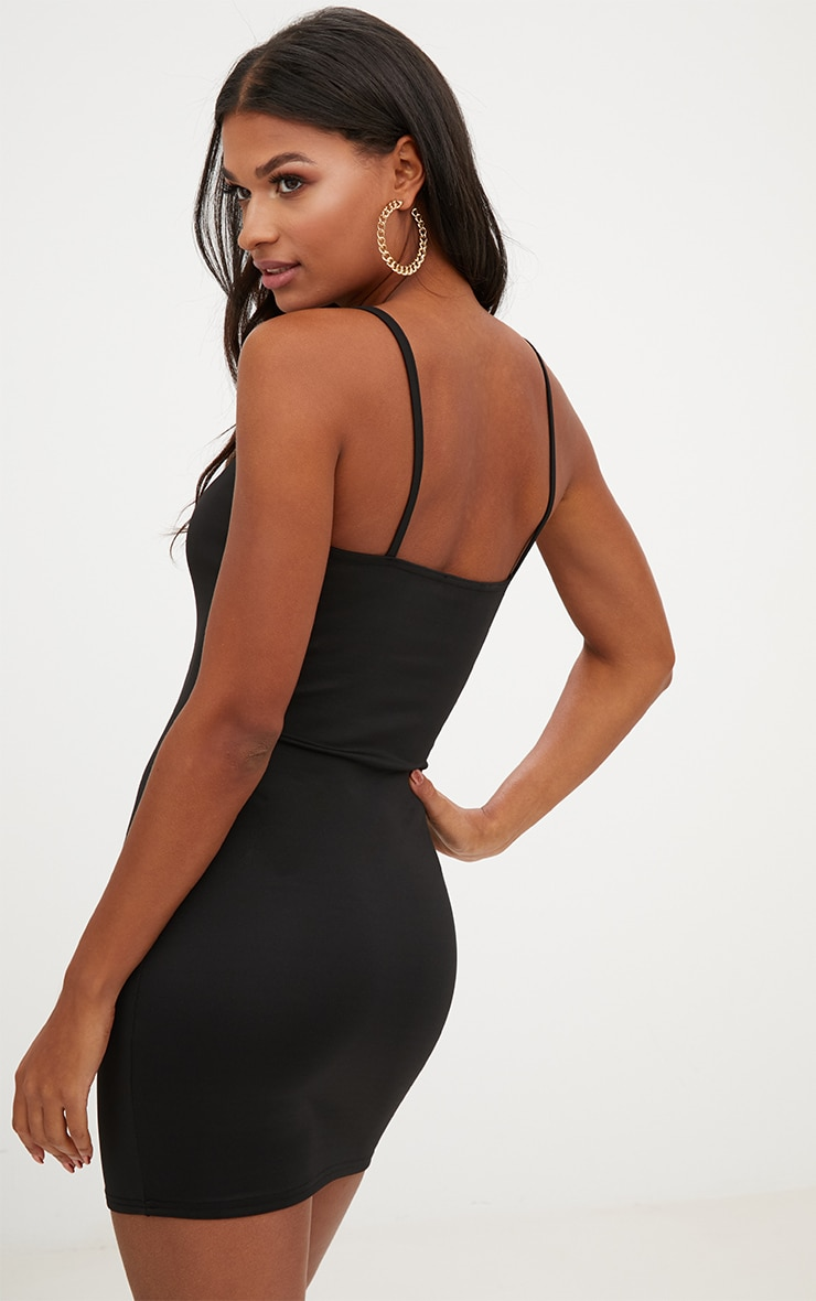 Black Strappy Panelled Bodycon Dress 2