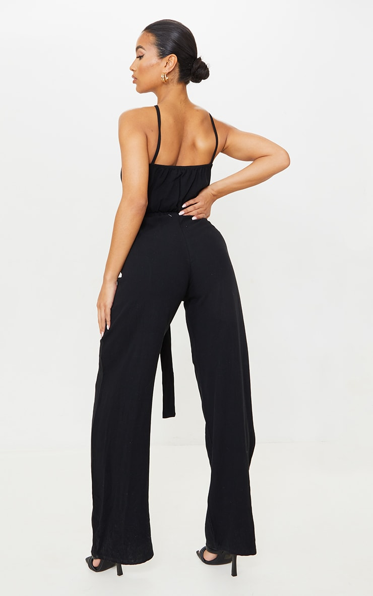 Black Linen Look Strappy Tie Waist Jumpsuit 2