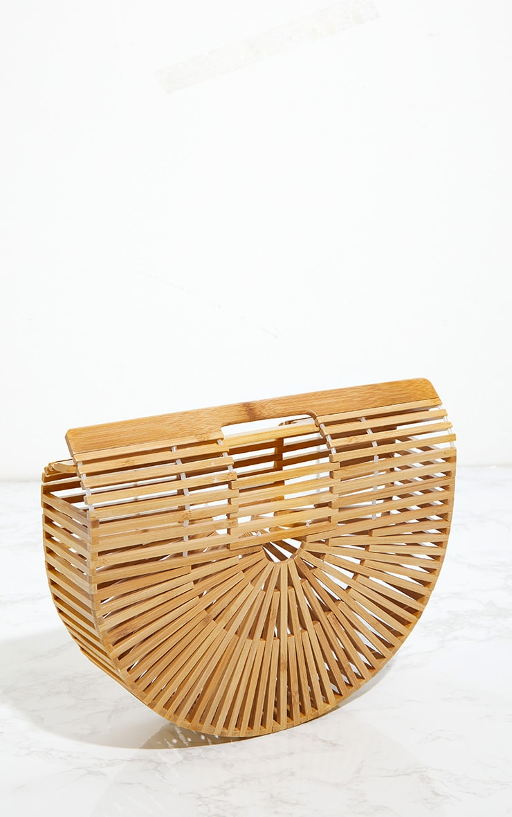Tan Small Wooden Structured Clutch Bag 3