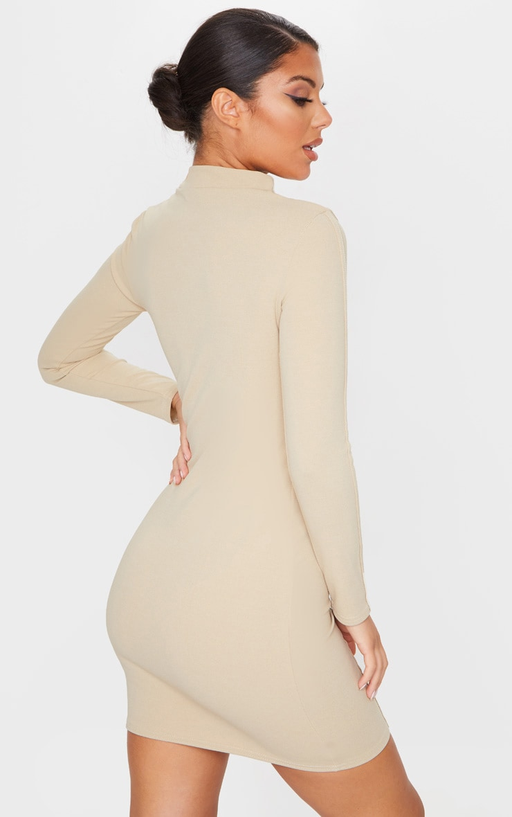 Stone High Neck Long Sleeve Binding Detail Bodycon Dress 2