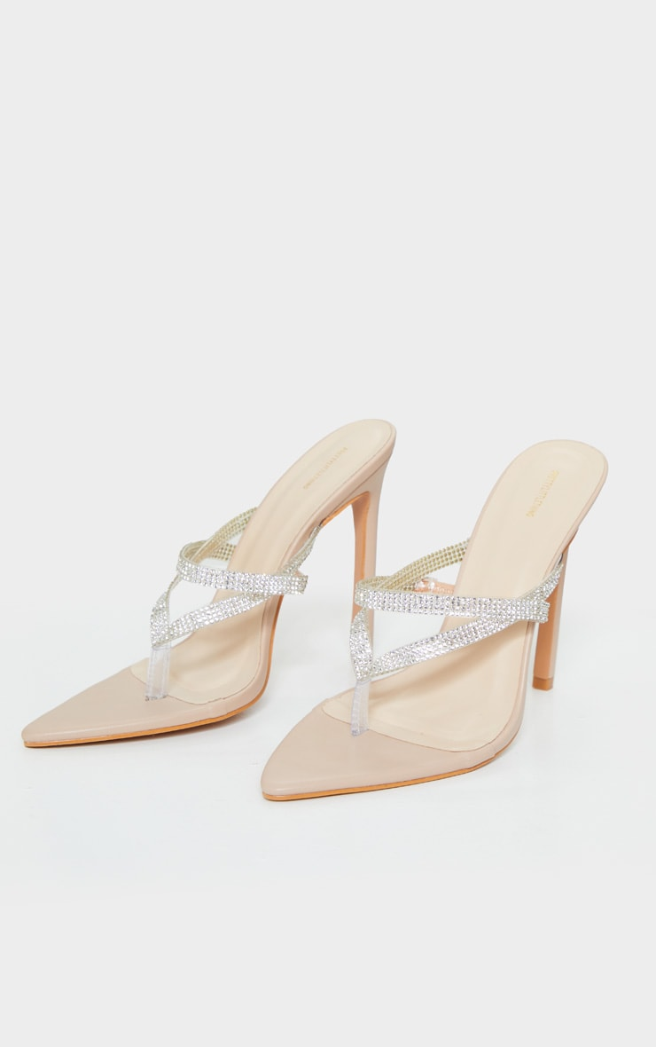 Nude Point To Clear Diamante Toe Through Strap Heels 3