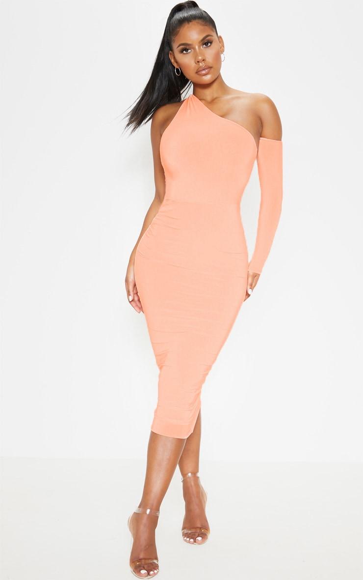 Peach One Shoulder Asymmetric Bodysuit  5