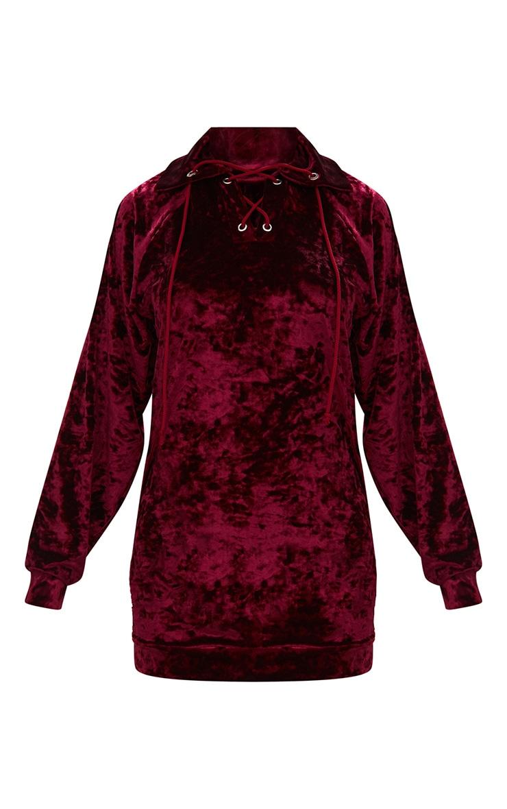 Petite Burgundy Crushed Velvet Sweater Dress