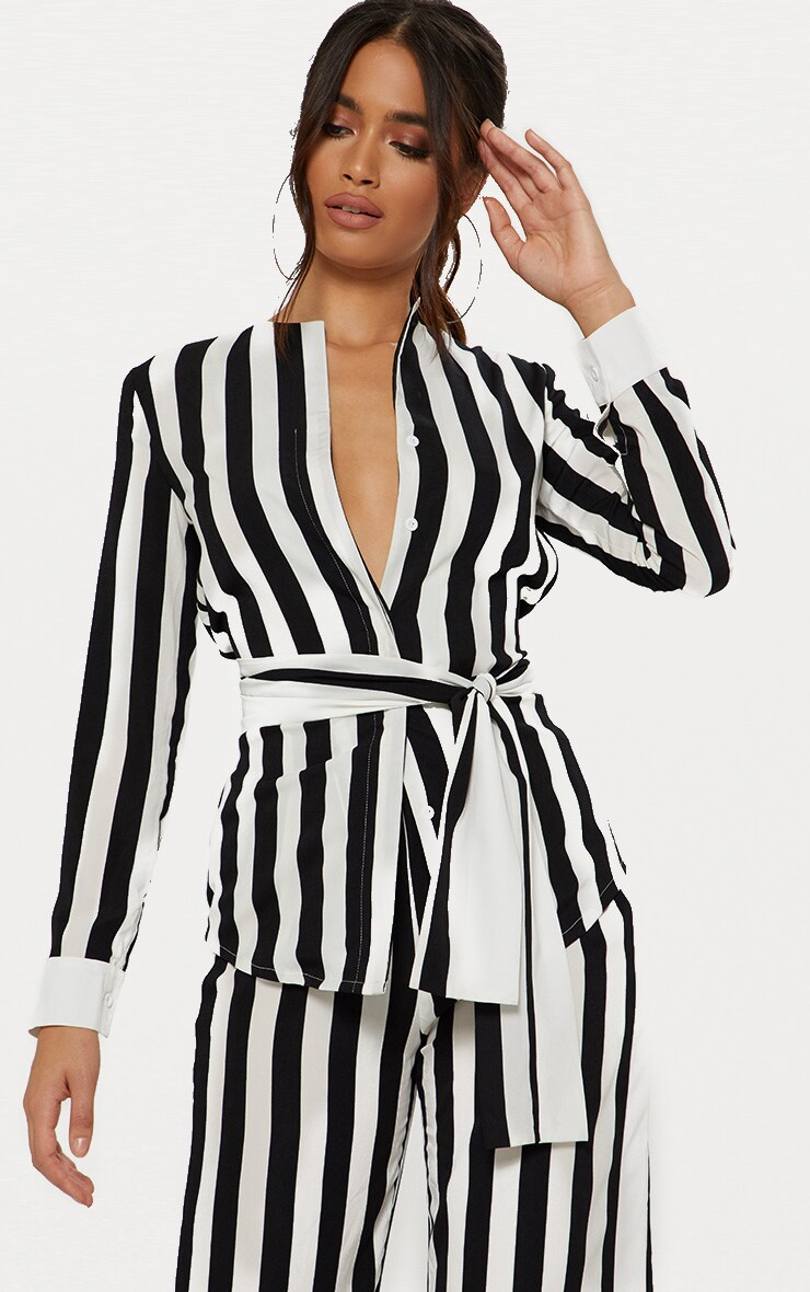 Monochrome Humbug Stripe Tie Waist Shirt  1