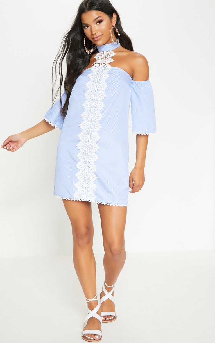 Blue Stripe Lace Trim Shift Dress 4