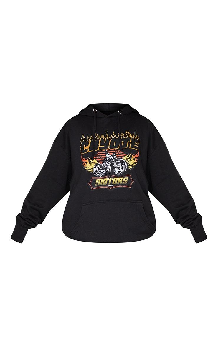 Black Oversized Coyote Print Hoodie 5