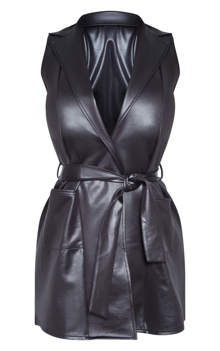 Black PU Sleeveless Tie Waist Blazer Dress 3