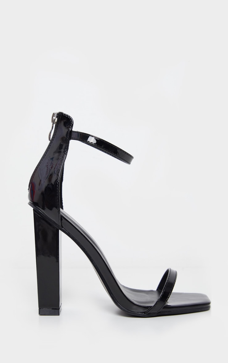 Black Square Toe High Block Heel Sandal 3