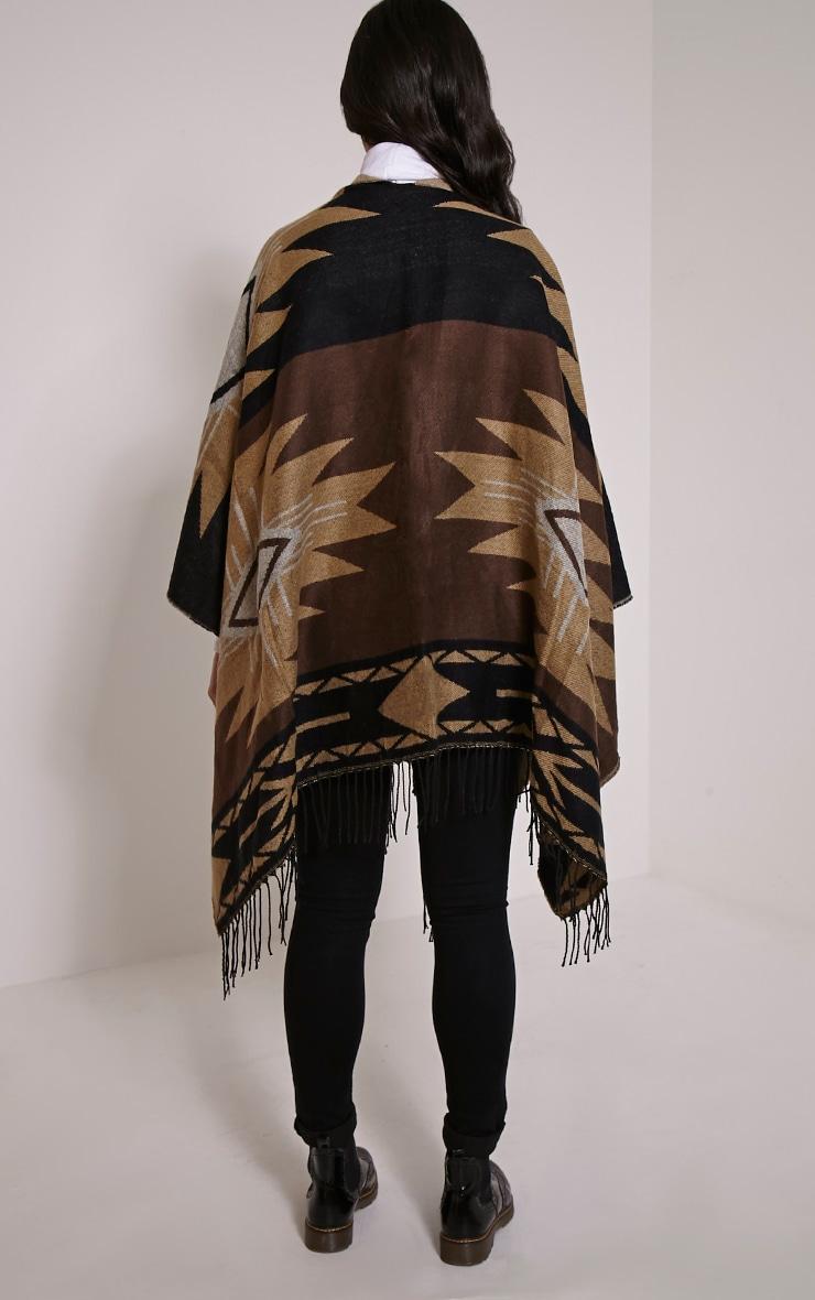 Isabella Brown Aztec Knit Poncho 2