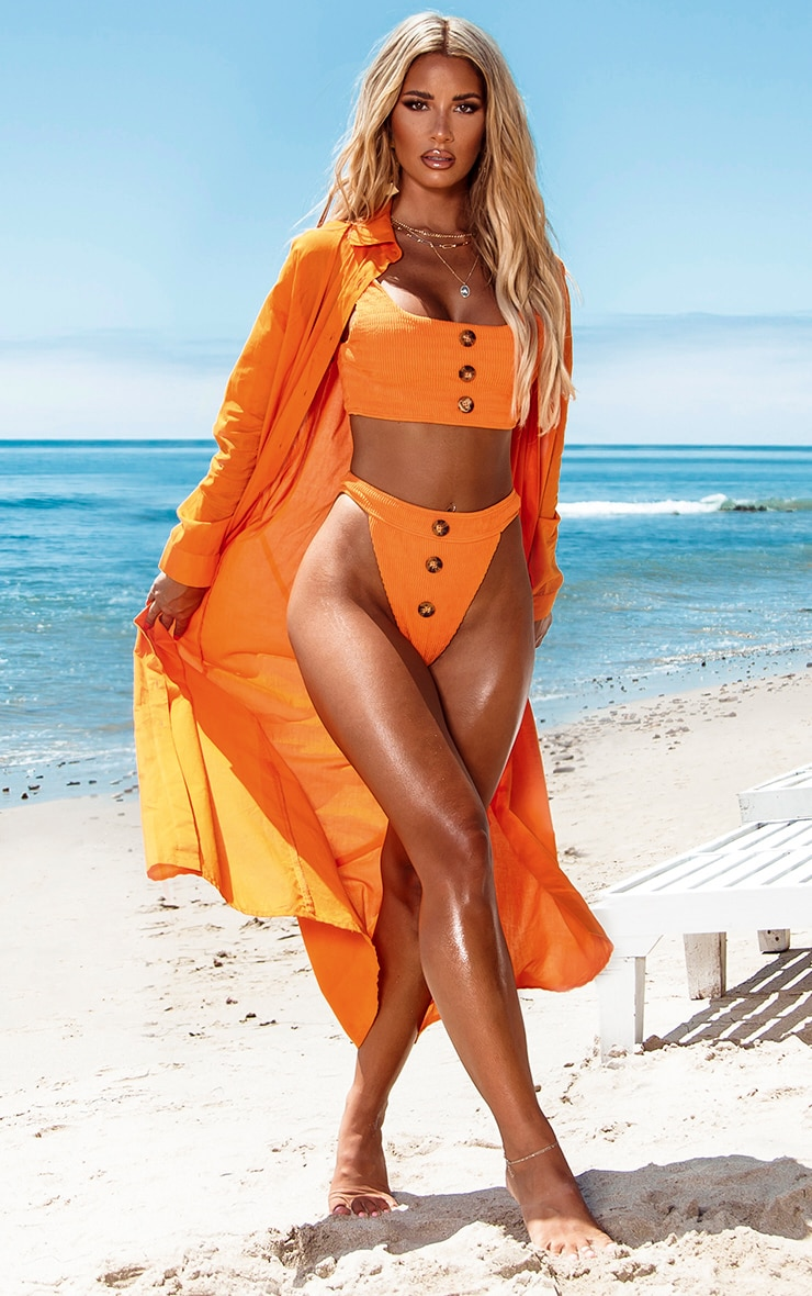 Robe de plage longue en coton orange  3