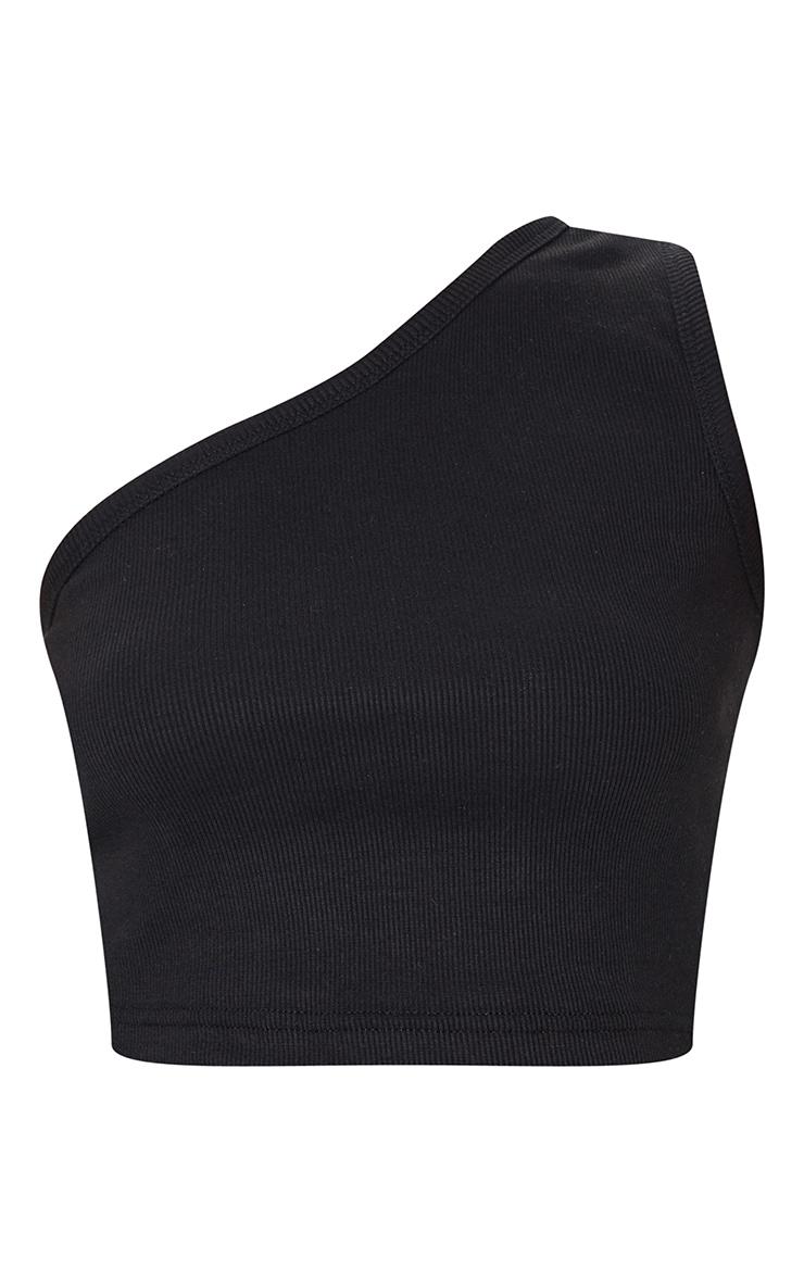 Black Rib One Shoulder Crop Top 5