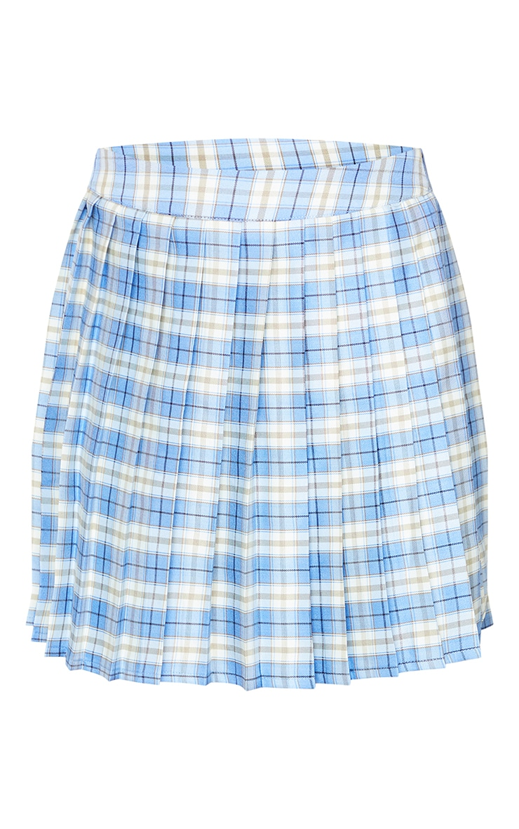 Bright Blue Woven Check Pleated Tennis Skirt 6