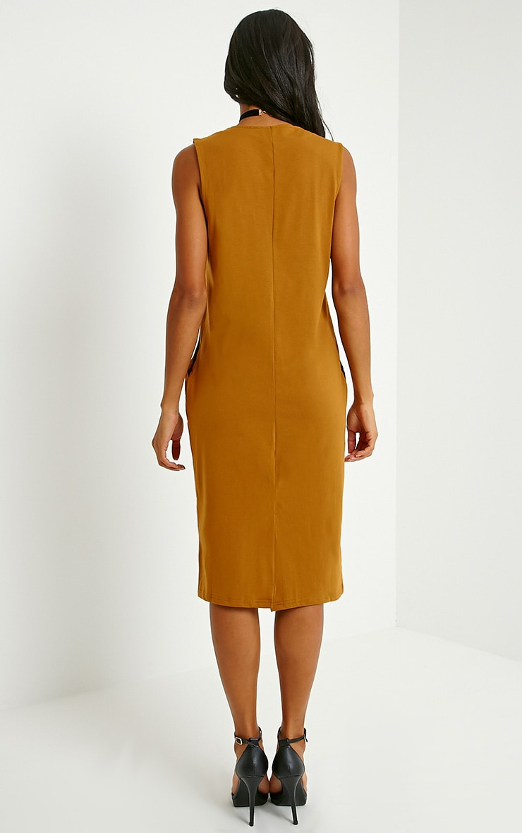 Raine Dark Mustard V Front T-Shirt Dress 2