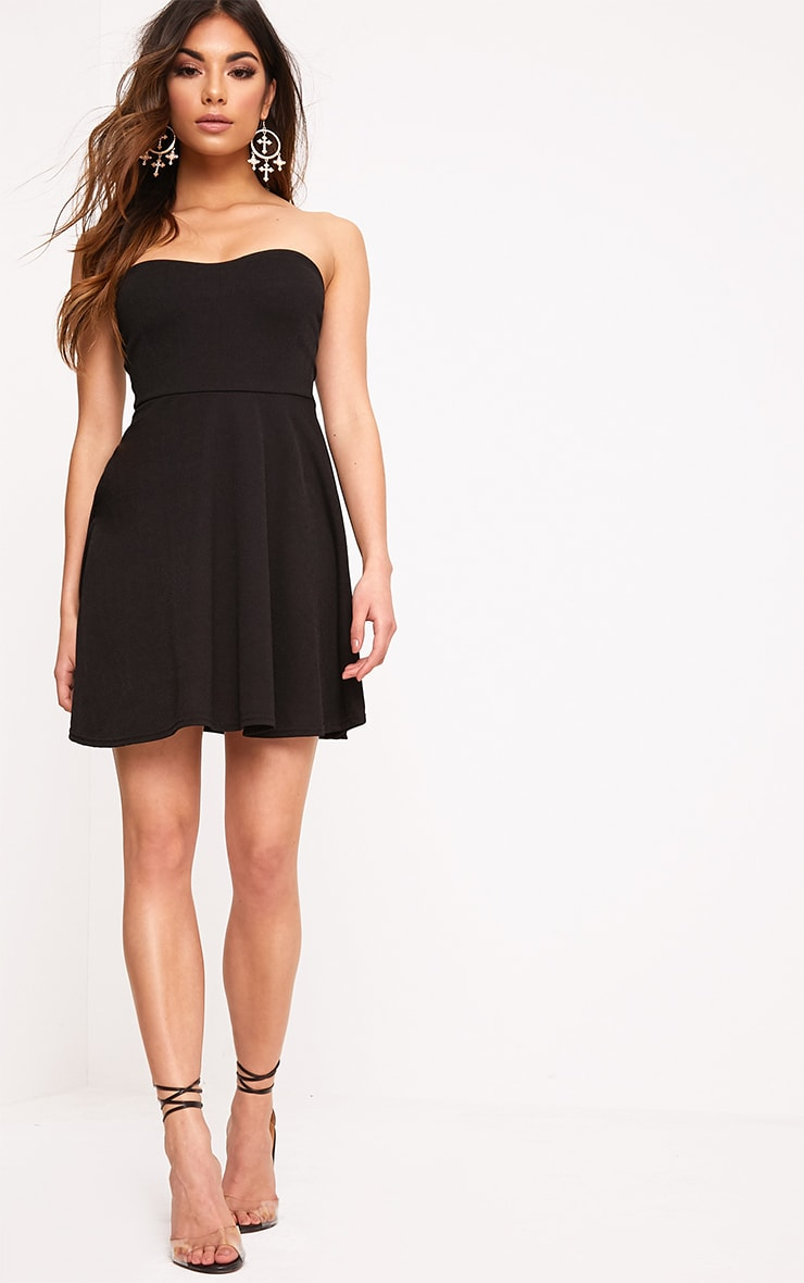 Black Bandeau Skater Dress 4