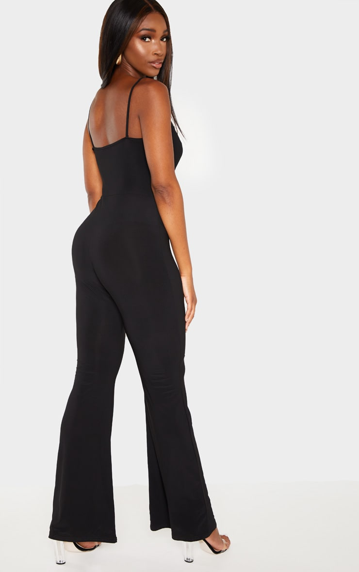 Black Strappy Ruched Detail Wide Leg Jumpsuit 2