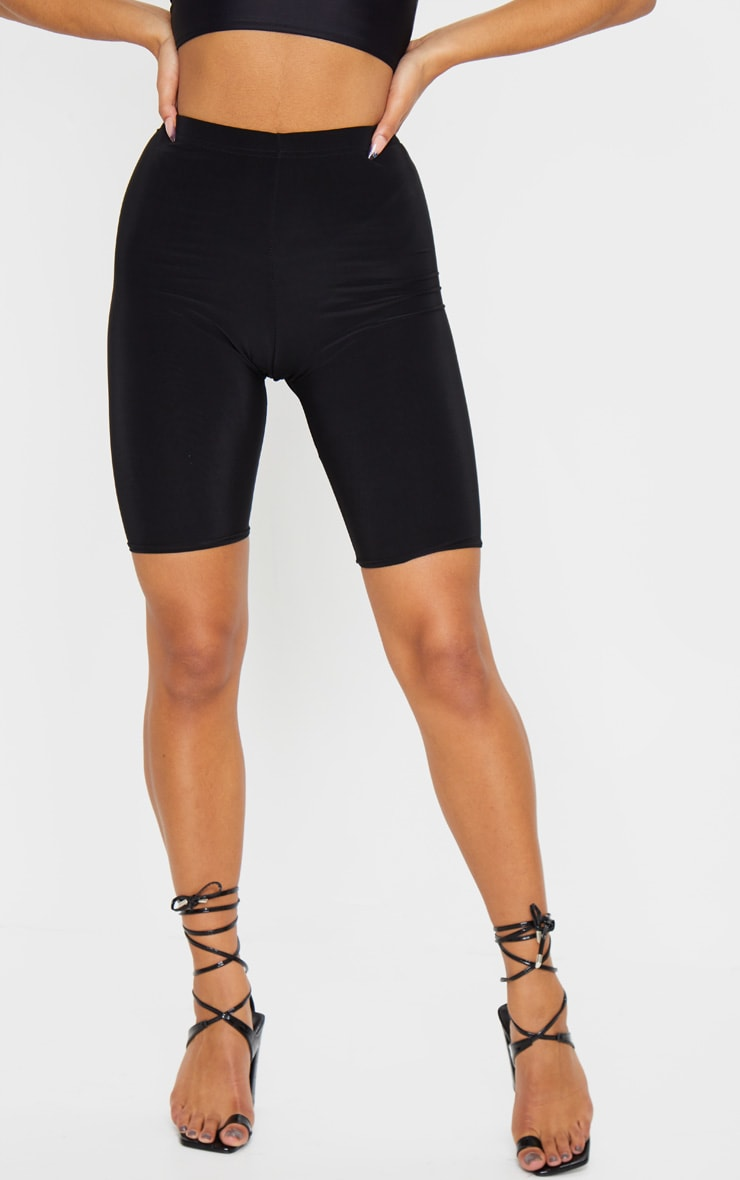 Bella Black Slinky High Waisted Bike Shorts 4