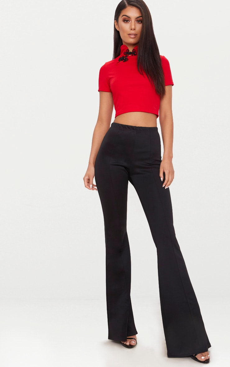 Red Oriental High Neck Detail Crop Top 4