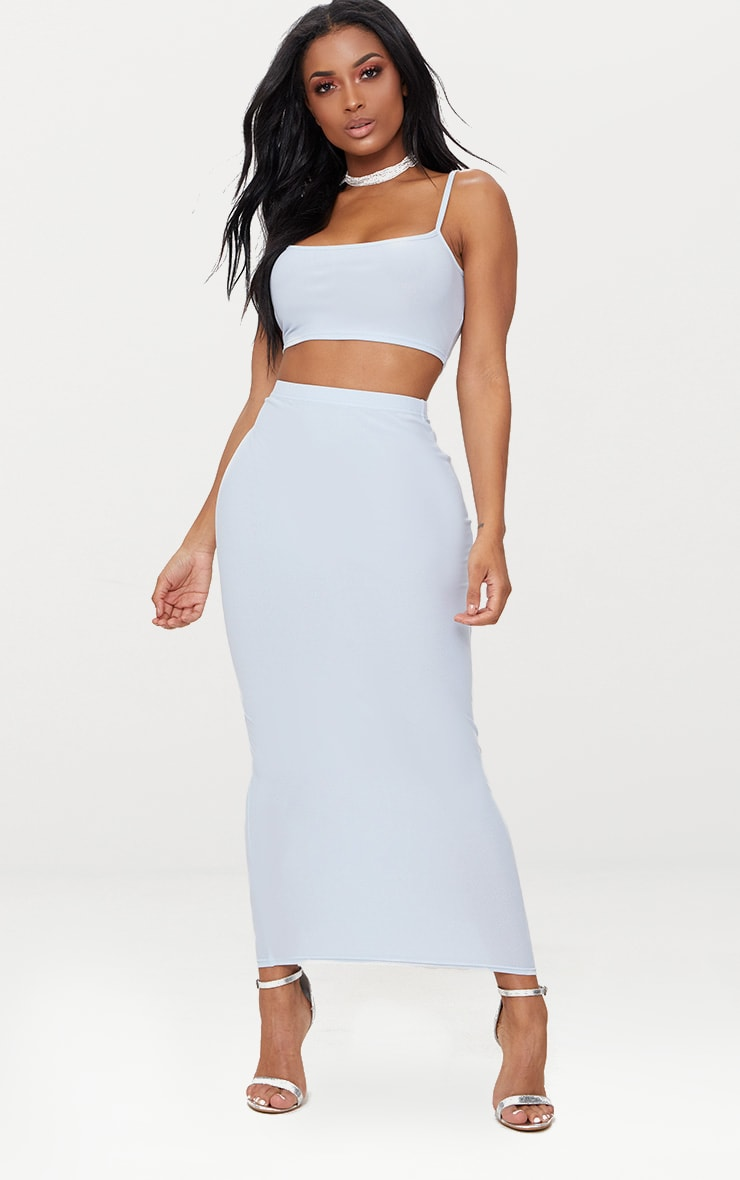 Shape  Light Blue Strappy Crop Top 4