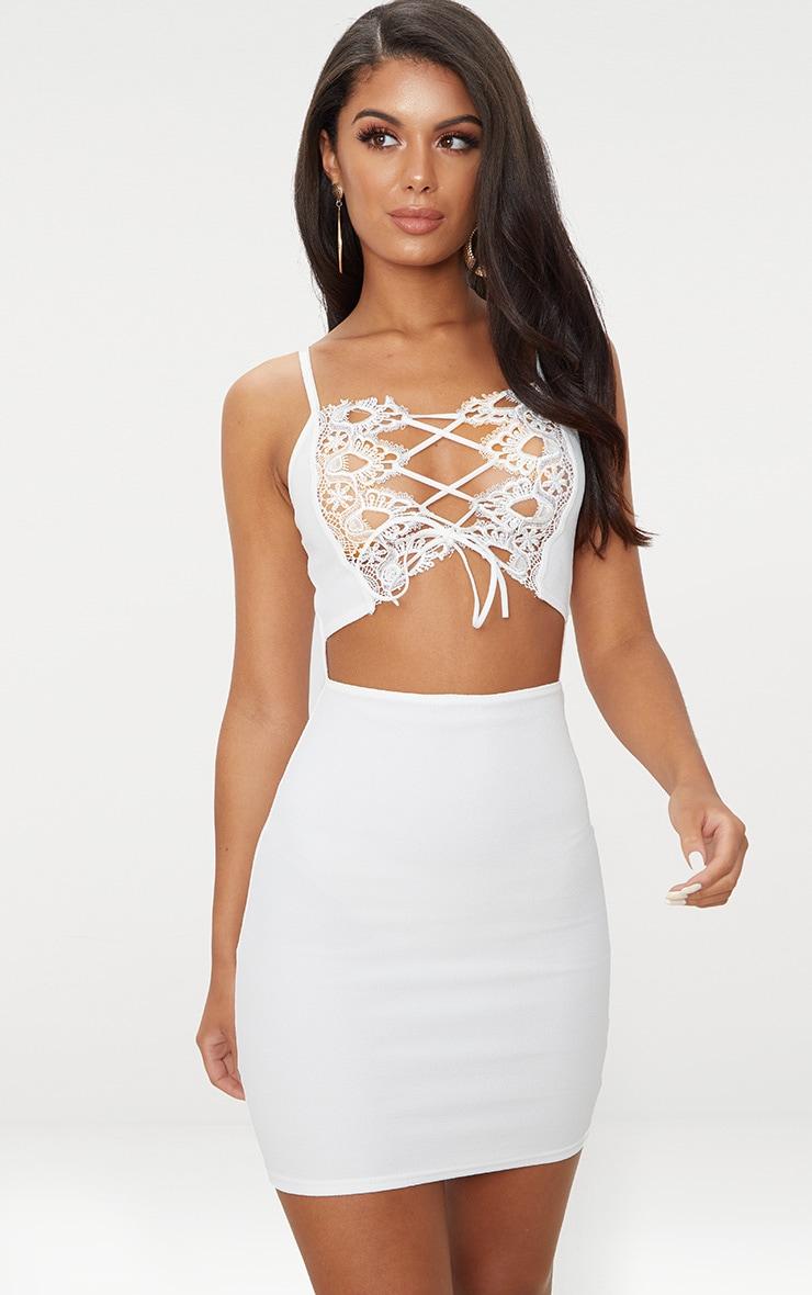 White Lace Trim Cut Out Detail Bodycon Dress 1