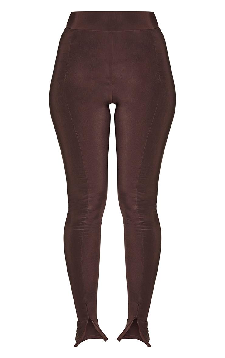 Chocolate Brown Slinky Seam Front Split Hem Leggings 5
