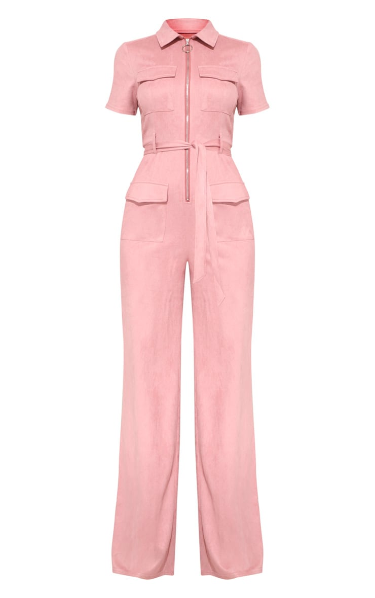 Rose Pink Faux Suede Zip Detail Jumpsuit 4