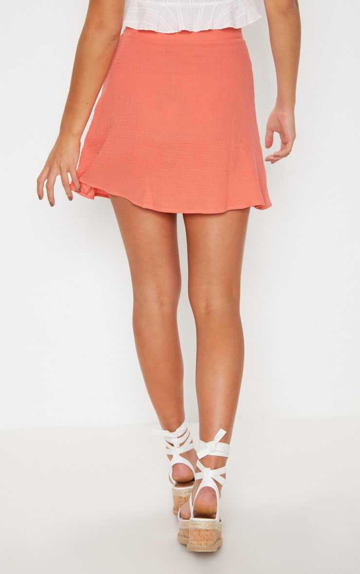 Coral Button Front Linen Feel Mini Skirt 4