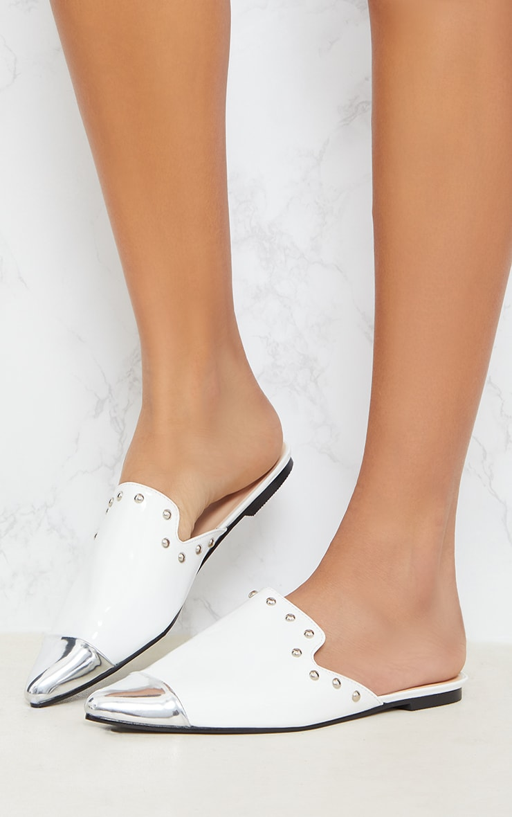 White Studded Point Metal Toe Mule 2