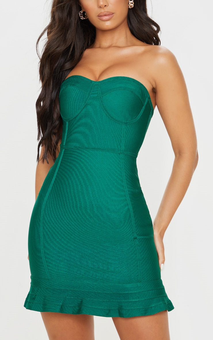 Emerald Green Bandage Frill Hem Bodycon Dress 5