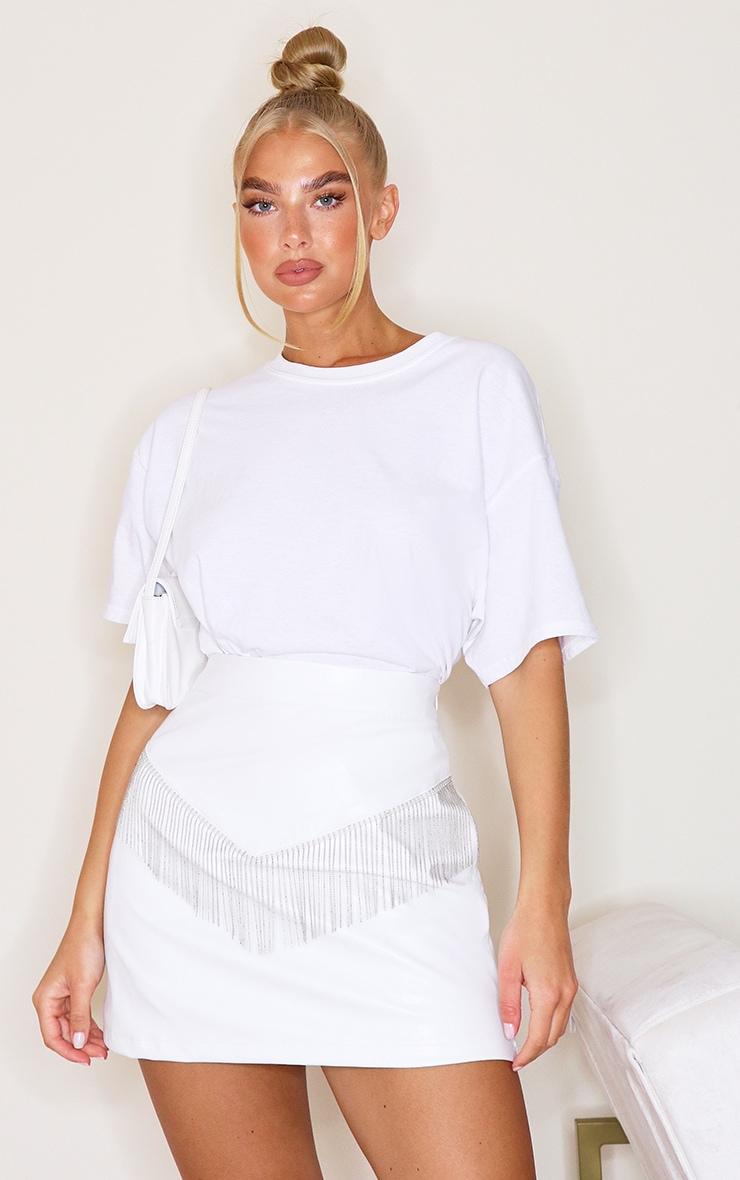 White Faux Leather Beaded Trim Detail Mini Skirt 1