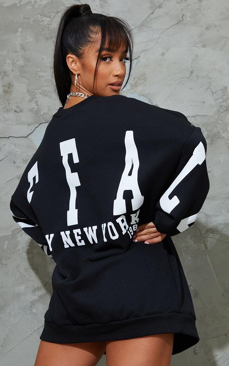 Petite Black Buffalo New York Slogan Sweater Dress 2