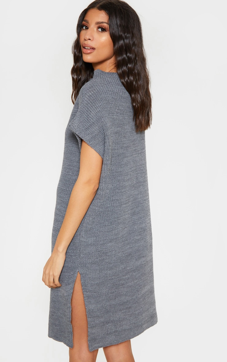 Charcoal Knitted Sleeveless Jumper Dress 2